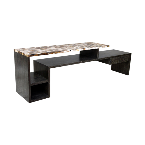 Tier Console with Petrified Wood